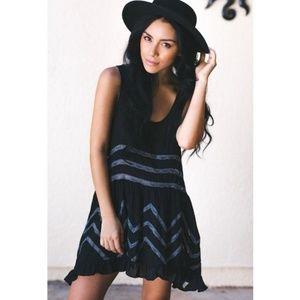 Free People | Voile Lace Trapeze Slip Dress Black